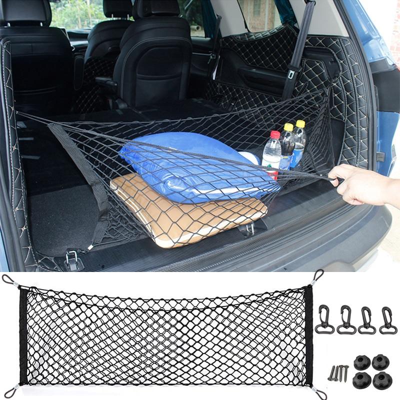 110x50CM Car Trunk Rear Storage Cargo Luggage Nylon Elastic Net Holder With 4 Plastic Hooks Pocket For Car Van Pickup SUV MPV