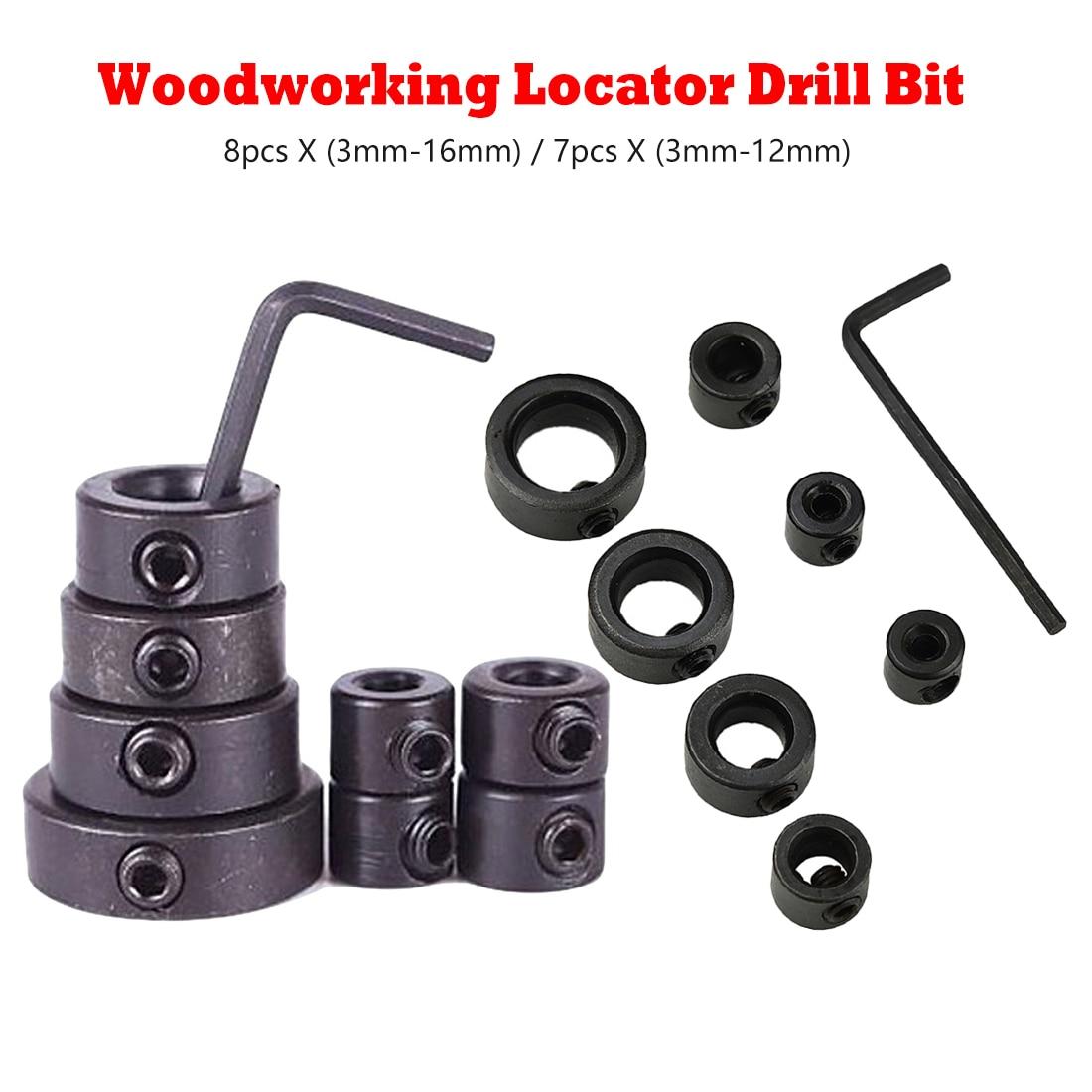 Woodworking Drill Locator Drill Bit Depth Stop Collars Ring Positioner Drill Locator Wood Drill Bit 8pc X 3mm-16mm/7pc 3mm-12mm