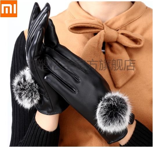 Xiaomi Mijia Fashion Female Leather Gloves Touch Screen Plus Velvet Thickening Gloves Woman Warm Rabbit Fur Driving Gloves