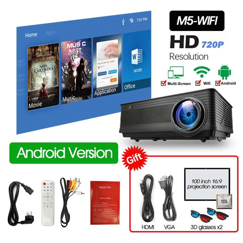 ALSTON M5 M5W Full HD 1080P проектор 4K 6500 люмен кинопроектор проектор Android WiFi Bluetooth hdmi VGA AV USB с подарком - Цвет: M5W