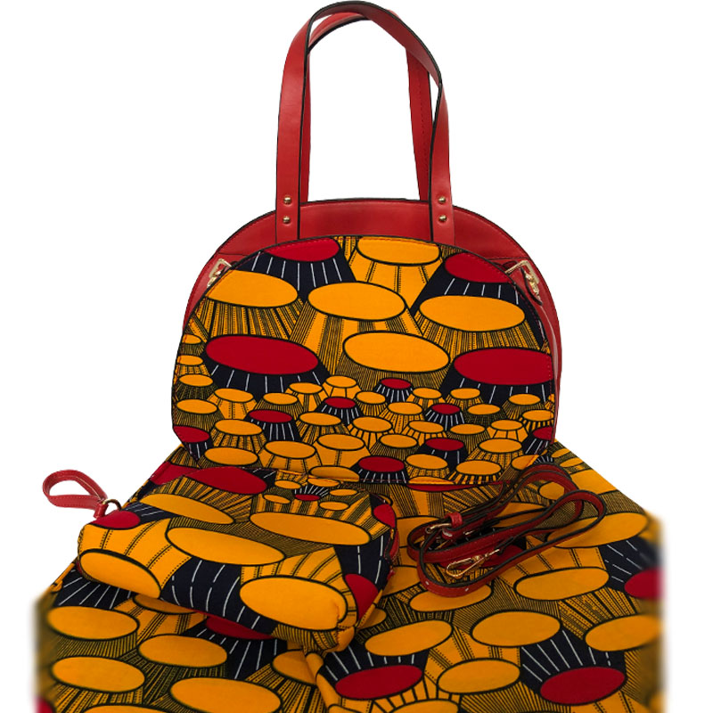 2019 Top Selling Wax Fabric Made Handbag And 6Yards Fabirc Set African Wax Print Fabric With Bag To Match Set For Party