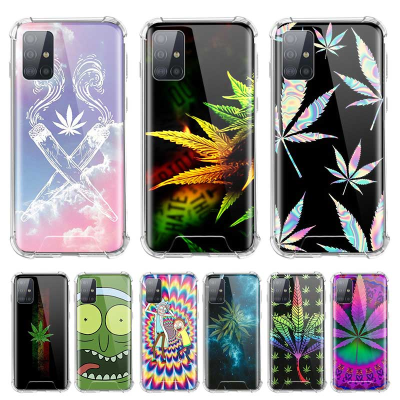 Soft Cover For Samsung Galaxy A71 A51 5G M51 M31 A41 A31 A21 A01 A21s Fall Proof Airbag Phone Cases Art High Weed Green