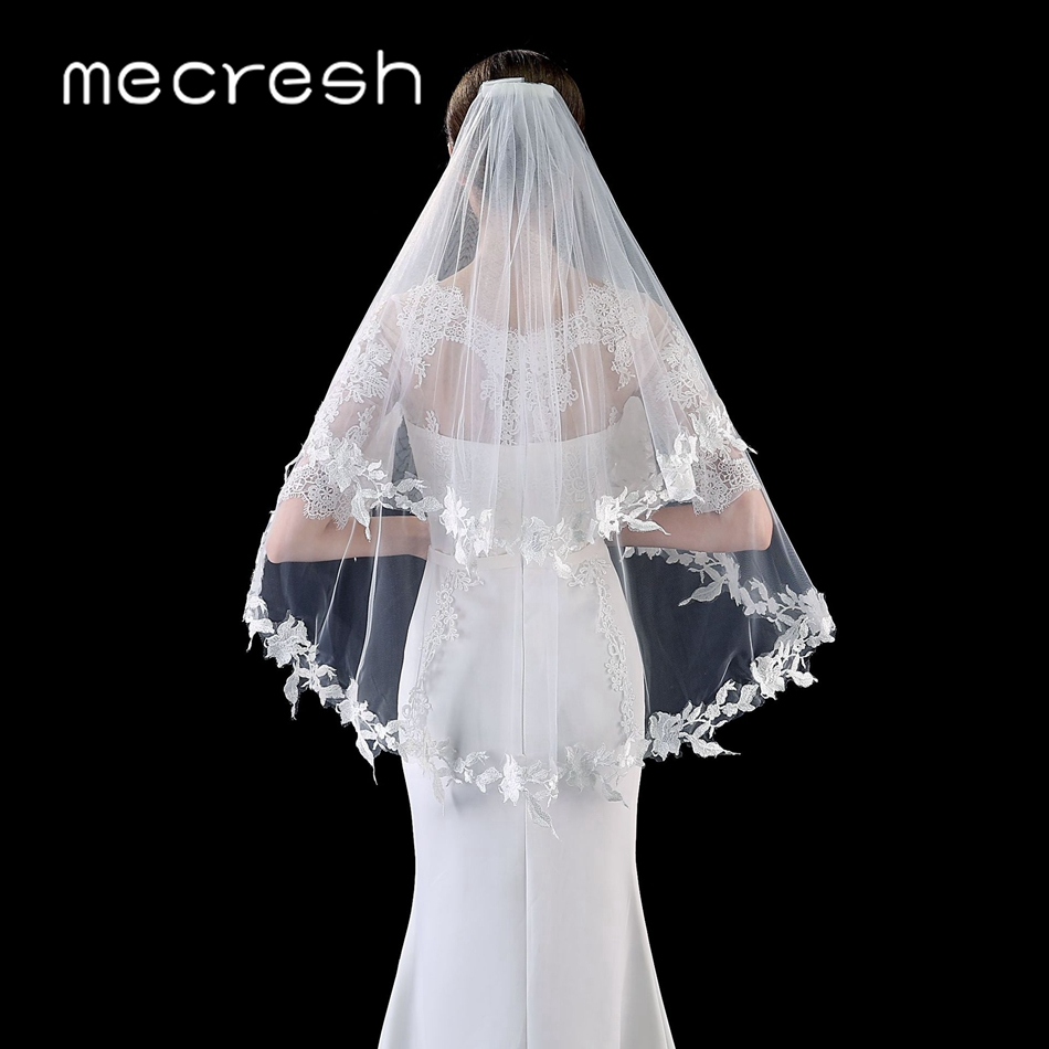 Mecresh Beige Appliqued Bridal Wedding Veils With Comb Women Accessories Lace Flower Double Layers Veils Elbow Length VTS007