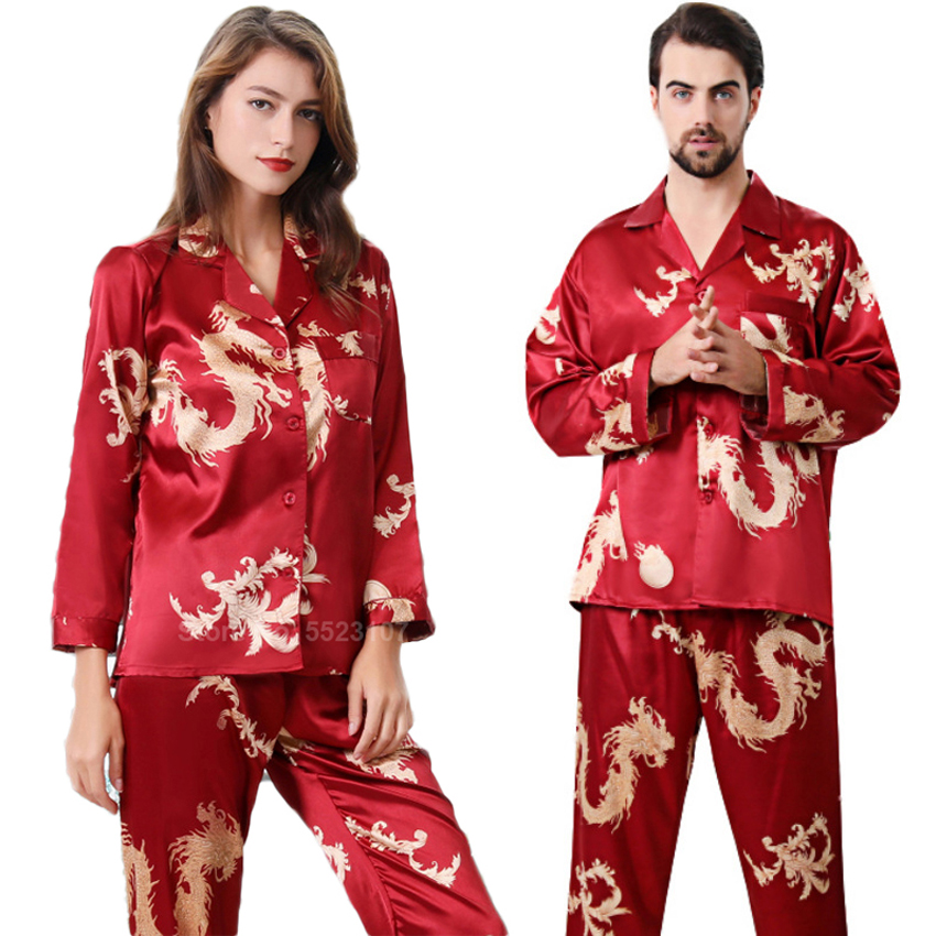 Women Silk Satin Pajamas Set 2PCs Full Sleeve Top Trousers Chinese Style New Year Dragon Print Lounge Men Couple's Pyjamas PJs