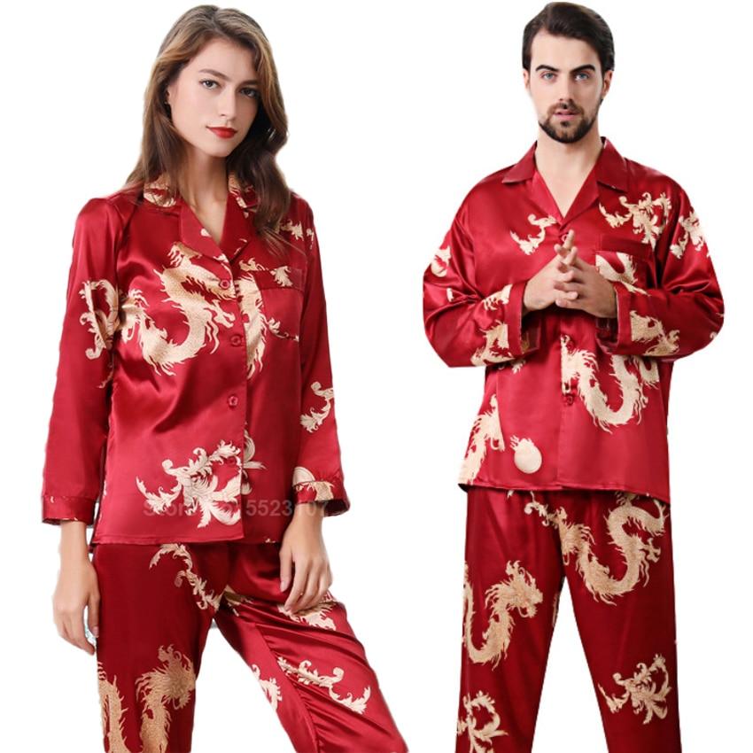 Women Silk Satin Pajamas Set 2PCs Full Sleeve Top Trousers Chinese Style New Year Dragon Print Lounge Men Couple's Pyjamas PJs