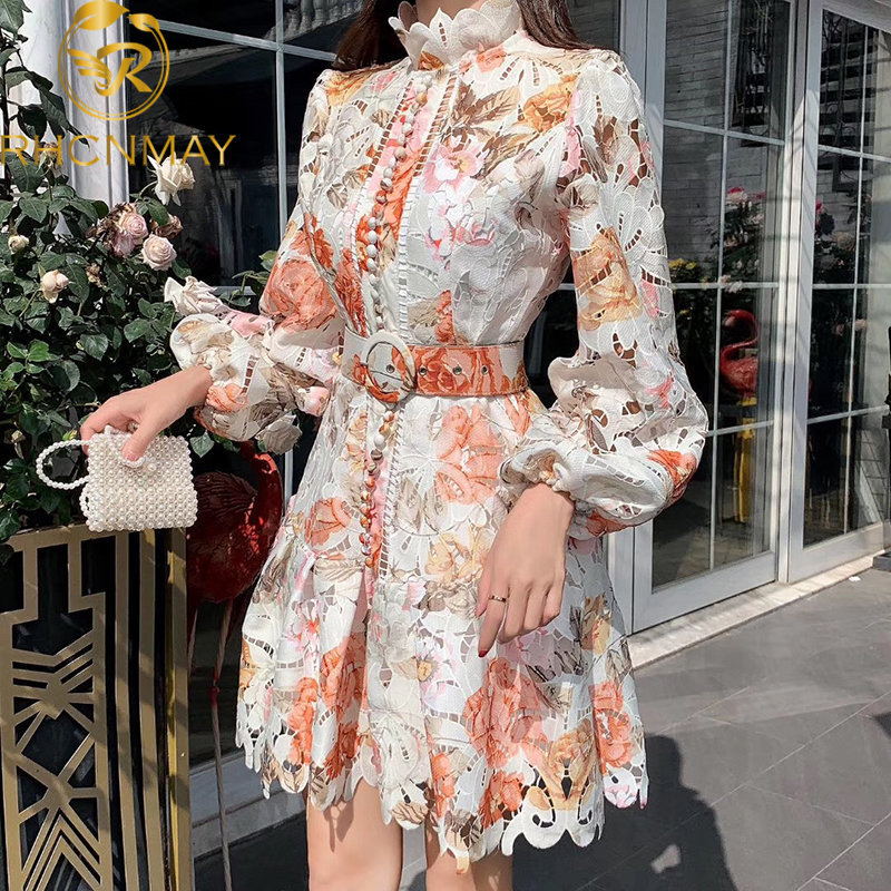 Floral Embroidery Hollow Out Lace Dress Women Ruffles Stand Collar Lantern Sleeve Single-Breasted Sashes Mermaid Short Dress
