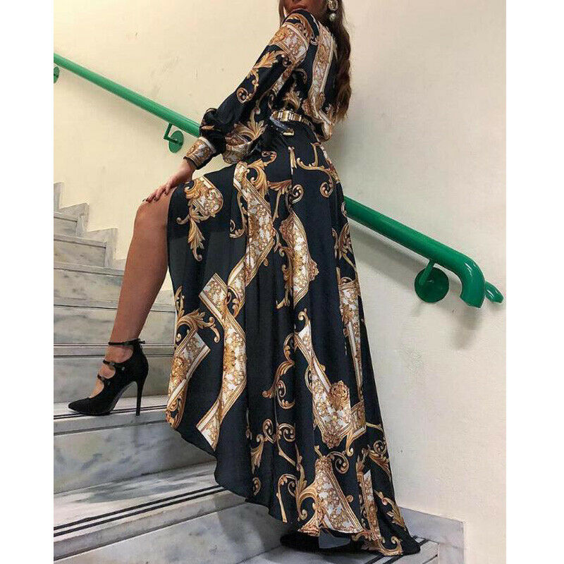 Fashion Women Vintage Print Lantern Sleeve Maxi Dress 2019 Early Autumn Evening Party Long Maxi Dress Sundress