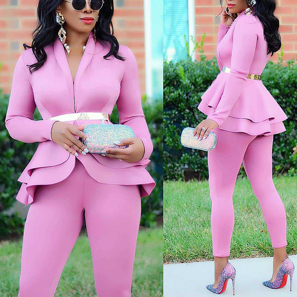 H3c62bac1d7f447d4aafdebaa4a54116cV - Plus Size Office Ladies Blue Pink 2 two piece set top and pants Elegant Female Casual Business matching suit sets Women clothing