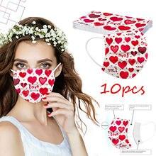 10 pièces adulte masques jetables 2021 saint valentin Masque De Protection masques respirants Día De San Valentín Masque Mascarillas