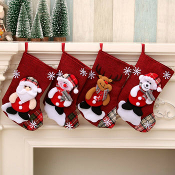 Pudcoco Large Stockings Santa Elk Fabric Gift Socks Christmas Lovely Bag For Children Fireplace Tree Christmas Decoration #2 image