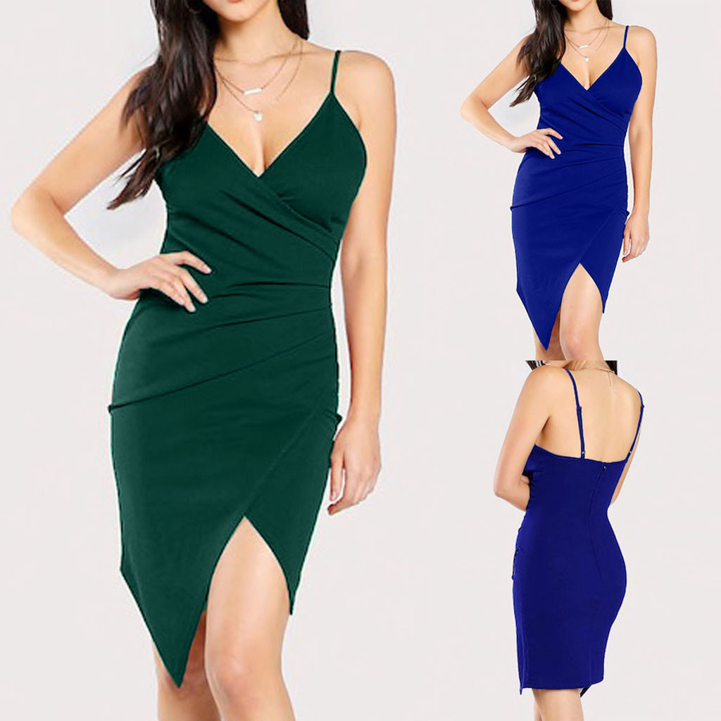 2020 Fashion Women <font><b>Sexy</b></font> V-Neck Camis Formal Work Party Irregular Bodycon <font><b>Dress</b></font> <font><b>Sexy</b></font> suspender <font><b>dress</b></font> <font><b>Open</b></font> <font><b>back</b></font> V-neck <font><b>dress</b></font> image