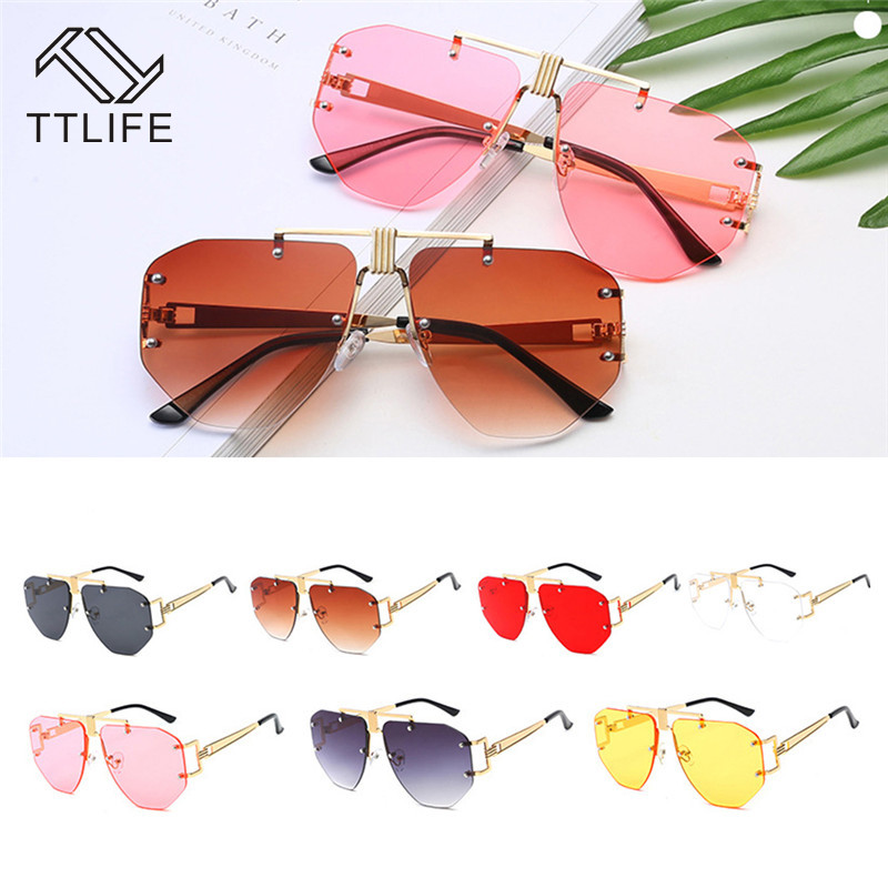 TTLIFE 2019 New Fashion Big Frame Sunglasses Men multilateral Glasses for Women High Quality Retro Sun YJHH0300