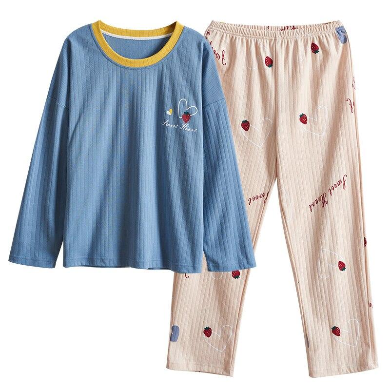 Plus Size Autumn pijamas Women Comfortable Cotton   Pajama     Set   Girl Print Pyjama   Set   Short Sleeve Sleepwear Suit Women Nightshirt