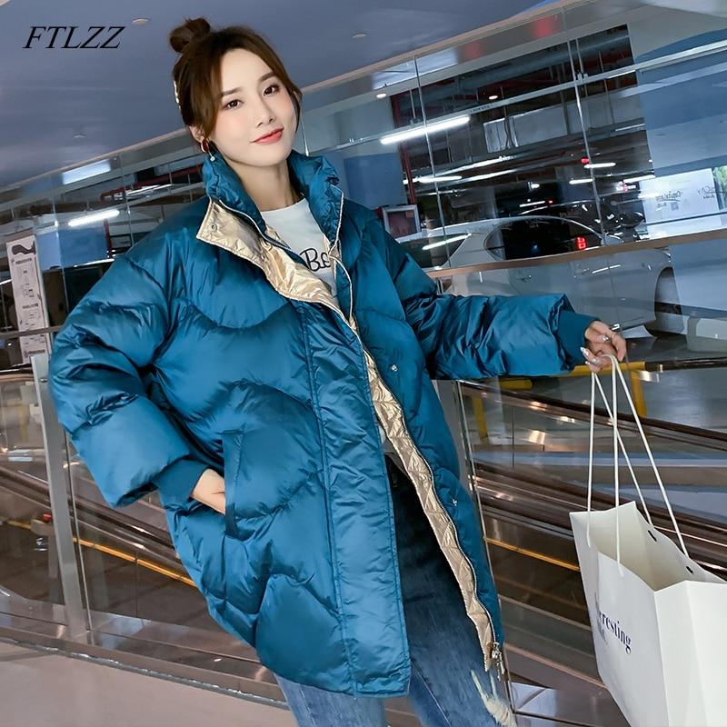 FTLZZ New Winter Women   Down   Jackets Women Loose Stand Collar White Duck   Down   Parkas High Street   Coat   Black Blue Snow Outwear