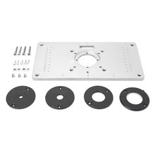 Aluminum Router Table Insert Plate Multifunctional Engraving Machine Wood Flip Panel with 4 Rings for Woodworking Benches cheap CN(Origin) Aluminium alloy Plastic Black 235x120x8mm 9 25x4 72x0 31in Support Trimming Machine Upside Down 255x135x30mm 10 04x5 31x1 18in