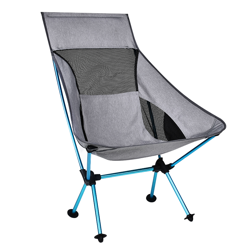 Portable Gray Moon Chair Fishing Camping Stool Folding Extended Hiking Seat With Pocket Ultralight Office Home Furniture
