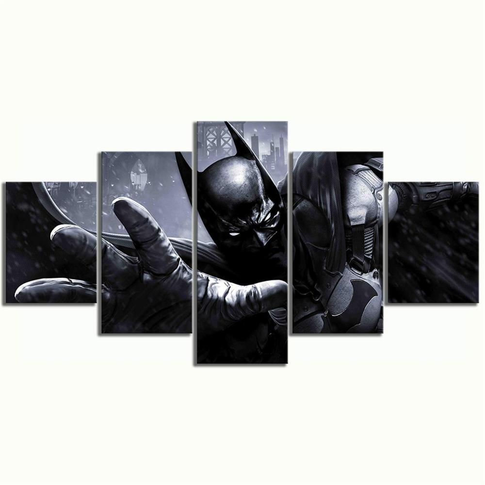 5 Piece Batman Arkham Origins Video Games Poster Dark Knight Canvas Paintings Wall Art for Home Decor image