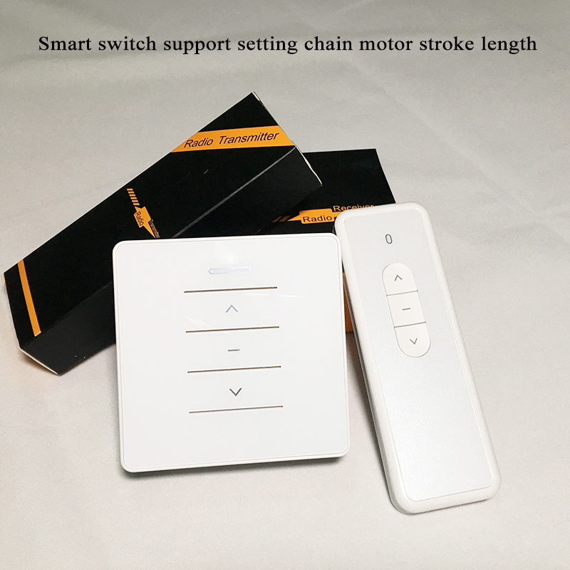 DC24V AC100-240V Smart Switch RF Receiver Remote Control 433Mhz Set Stroke Length Chain Adjustable Compatible With Window Motor