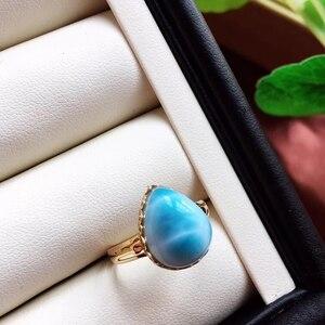 Image 4 - Anel ajustável de cristal do ouro 18k da forma 19x16x13mm aaaaa certificado natural anel de larimar azul para a festa de aniversário da mulher