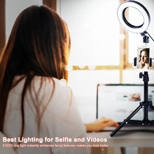 Urijk LED Ring Light Selfie Phone Holder Selfie Stick Ring Photo Studio Fill Light Toning 3 Colors Brightness Adjustable Tripod(China)