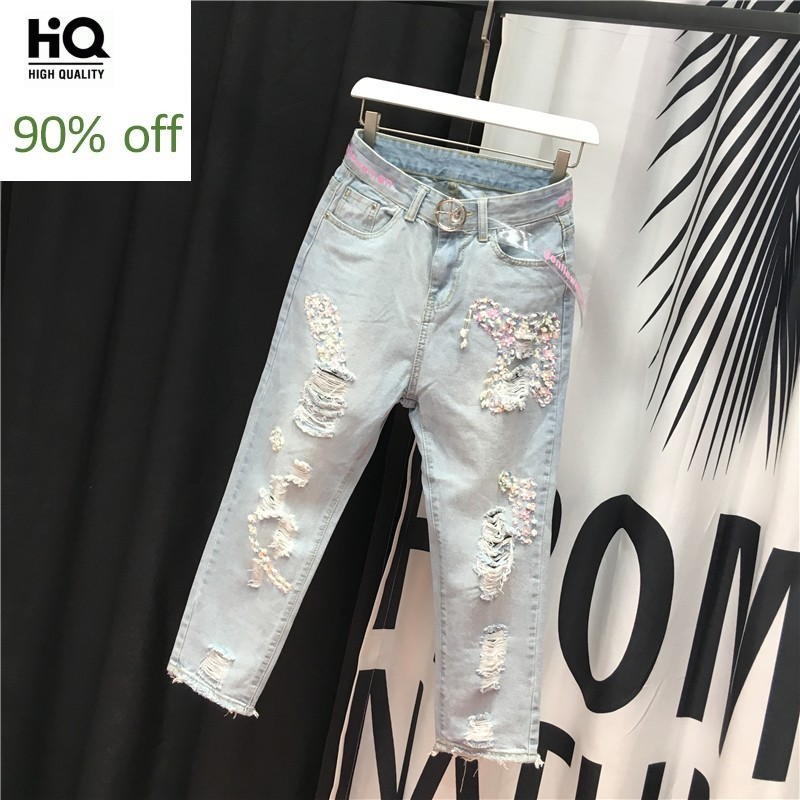 Euro Fashion Embroidered Flares Sequins Womens Denim Pants Spring Thin Hole Ripped Loose Ankle Length Female Straight Trousers
