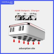 6USB Mobiele Lader Snellader QC3.0 Eu Ons Uk Plug Multi Usb Telefoon Oplader Snellader 3.0 Voor Mobiele IPhone12 ipad C29
