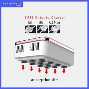 Image 1 - 6USB Mobile Ladegerät Schnell Ladegerät QC 3,0 EU UNS UK stecker multi USB Telefon Ladegerät Schnell Ladegerät 3,0 Für Mobile IPhone12 Ipad C29