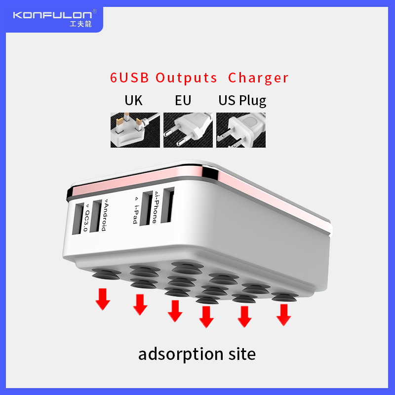 6USB Mobile <font><b>Charger</b></font> Quick <font><b>Charger</b></font> <font><b>QC3.0</b></font> EU US UK <font><b>USB</b></font> Phone <font><b>Charger</b></font> Quick <font><b>Charger</b></font> 3.0 For Mobile Phone Ipad C29 image