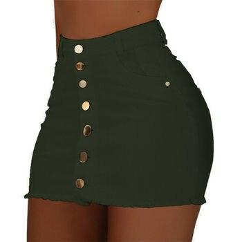 Brand New Women Stretch High Waist Solid Skirt Summer Button Denim Solid Short Mini Jeans Denim Pencil Skirts 4