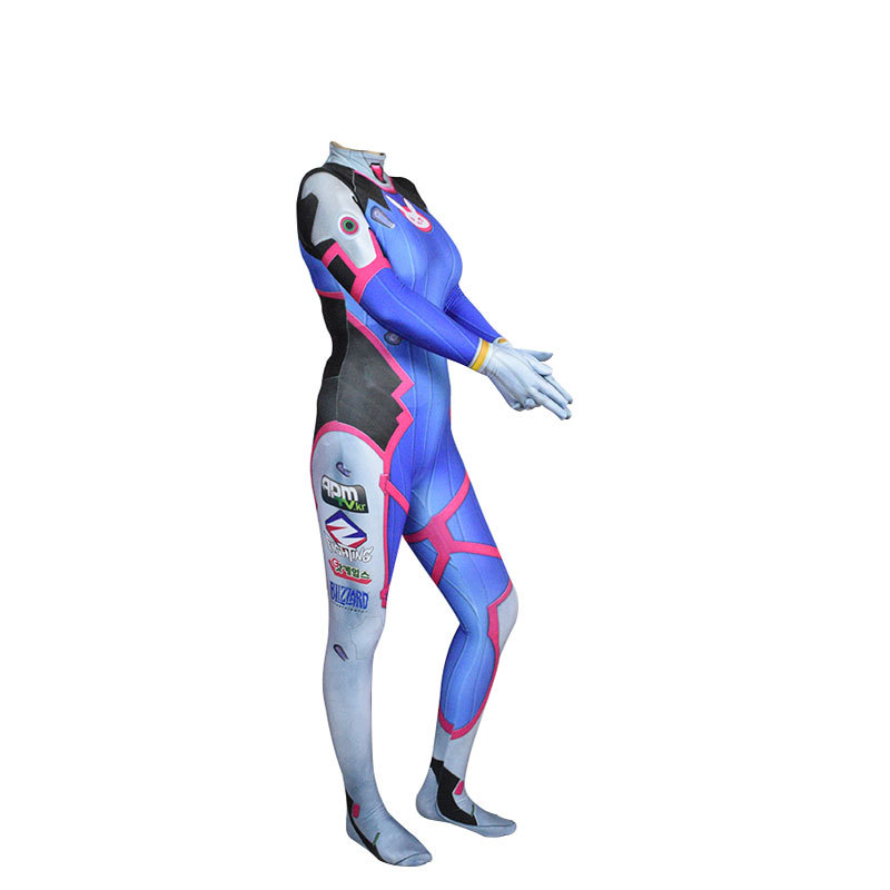 Game Overwatch Dva Cosplay Jumpsuit Costume Female Adult Child Zentai Wig Suits Lycra 3D Printing Romper Halloween Party 3