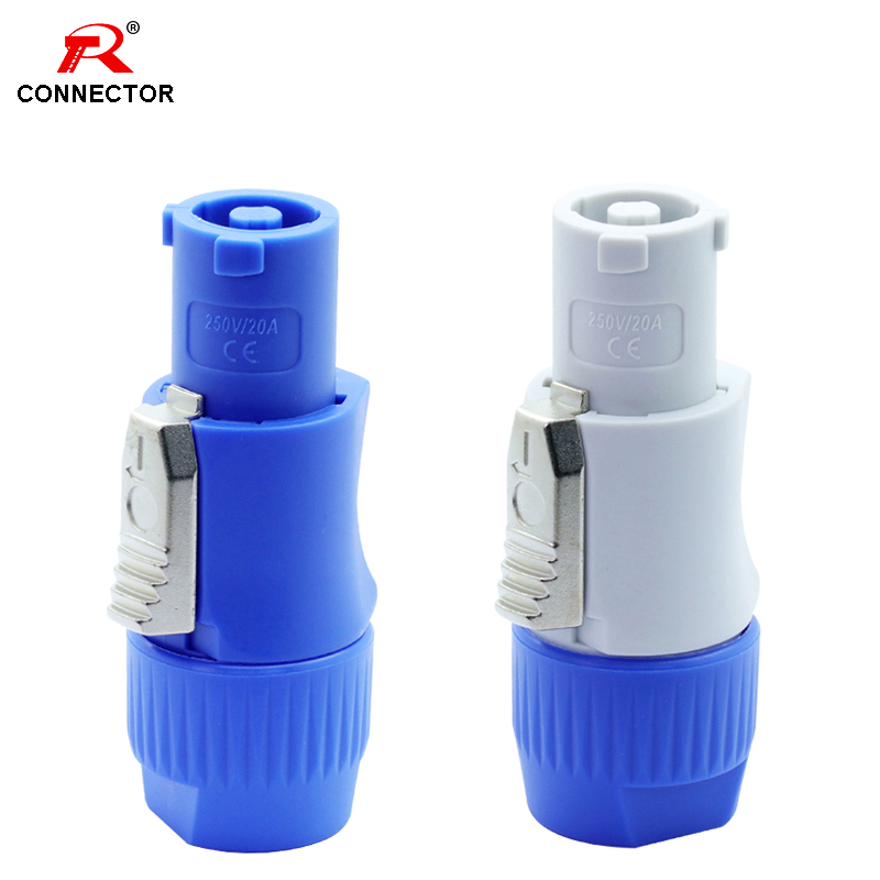 50pcs NAC3FCA NAC3FCB PowerCon Connector 3pins 20A 250V Powercon Male Plug, with CE/RoHS,Blue(Input) & Light Grey(Output)-in Connectors from Lights & Lighting