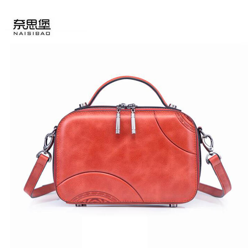 NAiSIBAO 2019 New top Cowhide women genuine Leather bag fashion Embossed luxury designer tote leather shoulder