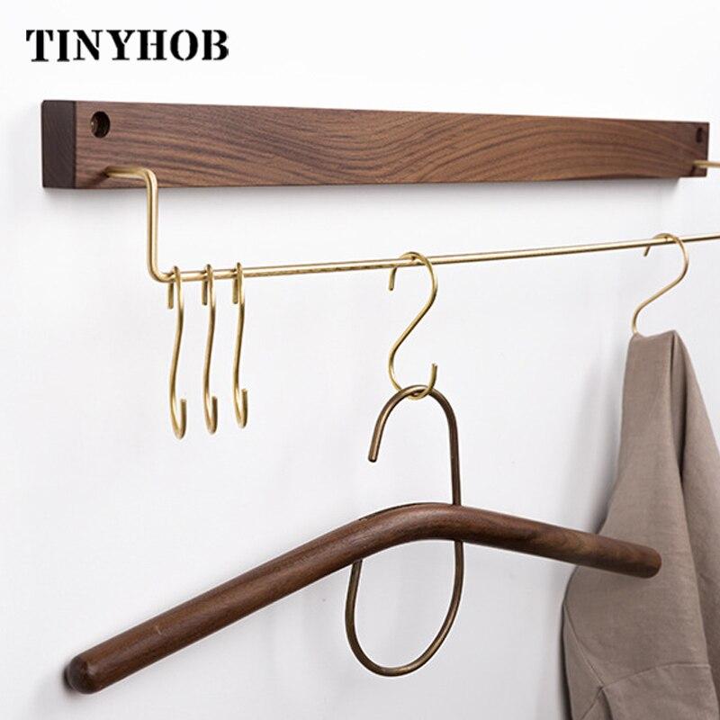 Wood + brass/Bathroom Towel Holder Rack Wall Mounted Towel Hanging Hook  Wardrobe Towel Rack Storage Shelf Towels Hanger