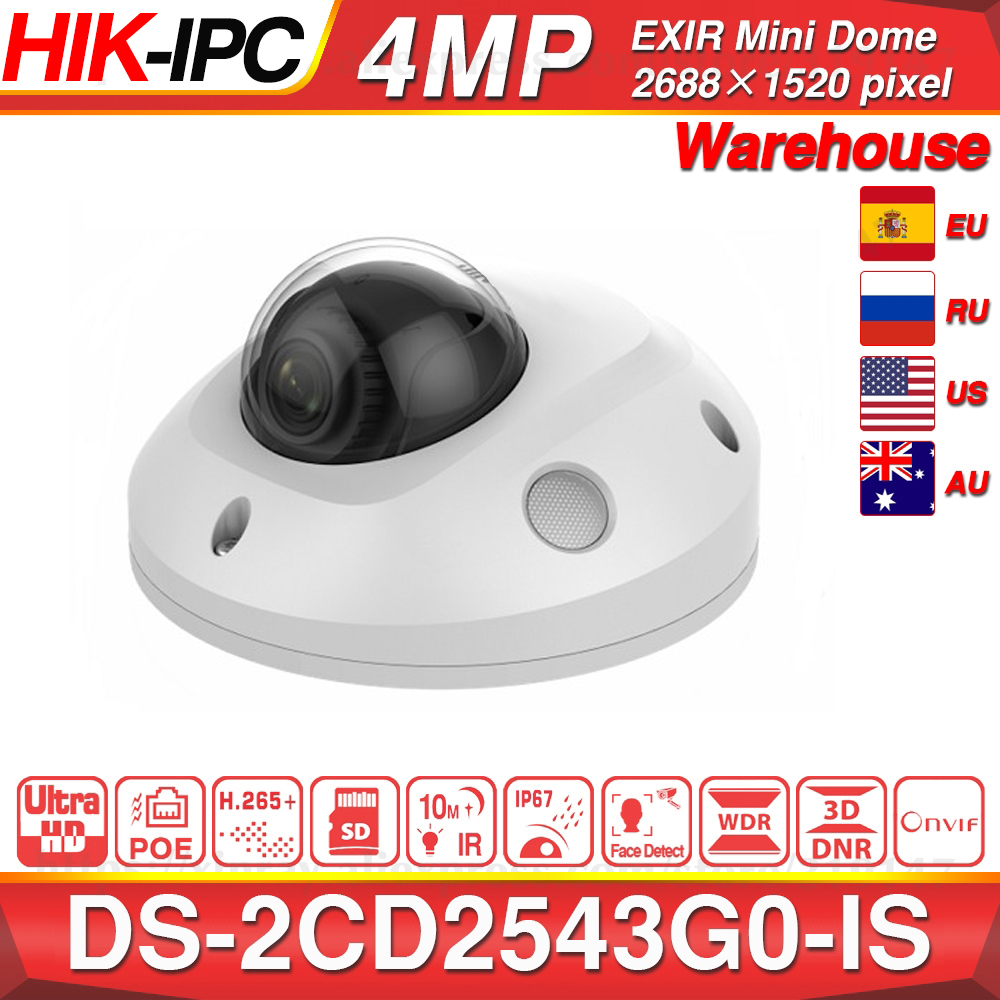Hikvision Original DS-2CD2543G0-IS POE Video Surveillance 4MP IR Network Dome Camera H.265+ SD Card Slot Face Detect 10M IR IP67