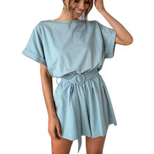 Sexy Solid Summer Short Sleeve Beach Jumpsuit Casual Short Sleeve Whith Belt Women Elegant Rompers New Fashion Playsuit Overalls(China)