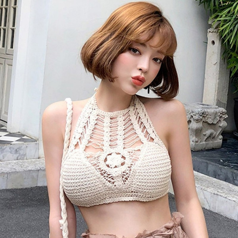 ROPALIA Vintage Crochet Crop Top Beach Wear <font><b>Sexy</b></font> Hot Hollow Out Bralette Knitting Handmade Tops Fitness Cropped image
