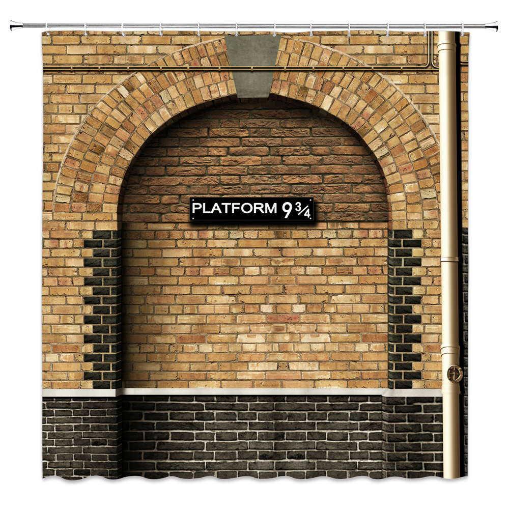 Vintage Houten Brief Nordic Building 9 En 3/4 Platform Badkamer Douchegordijn Frabic Waterdicht Bad Gordijn