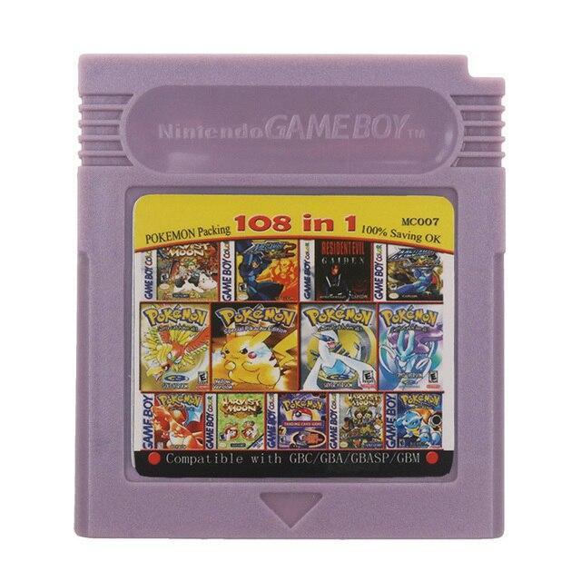 Dành Cho Máy Nintendo GBC Video Game Hộp Mực Tay Cầm Thẻ 108 Trong 1 Biên Soạn Phiên Bản Tiếng Anh