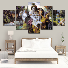 Hindu God Radha Krishna Love 2 HD Wall Art Canvas Poster and Print Canvas Painting Decorative Picture for Living Room Home Decor radha