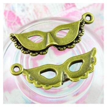 50 piezas encantos máscara de fiesta mascarada 12*31,5 MM colgantes de bronce antiguo que hacen joyería hecha a mano DIY