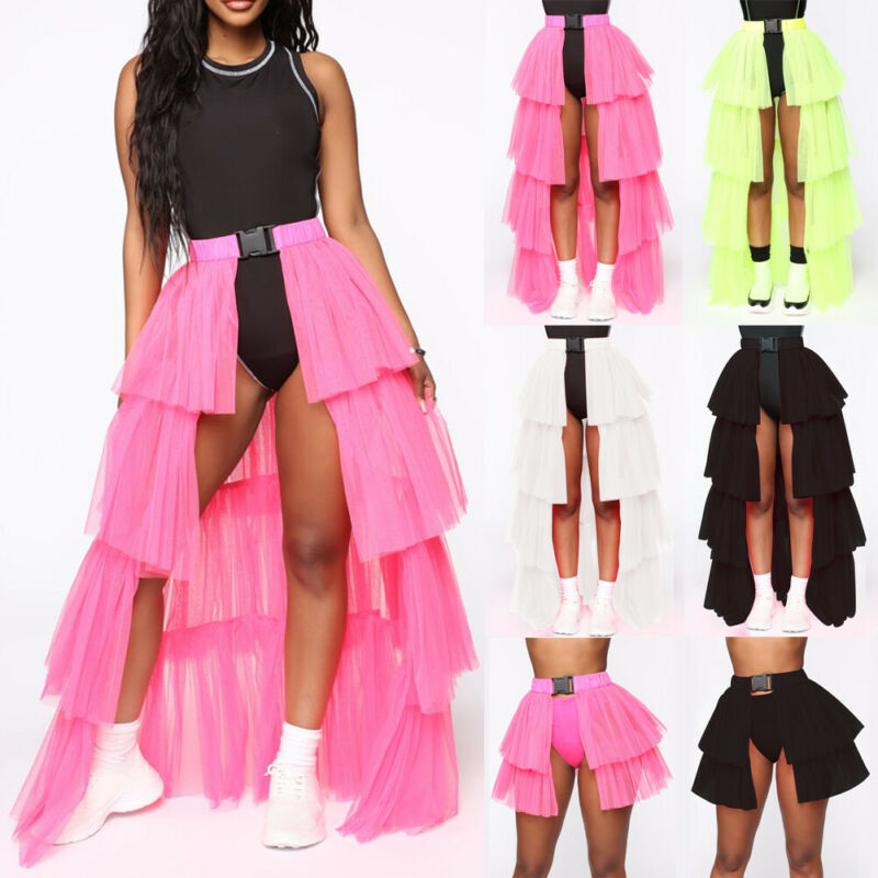 Women Adult Tutu Tulle Skirt Buckle Petticoat Princess Female High Waist Split Mesh Solid Long Skirts