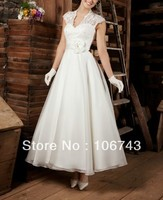 free shipping Hot Victorian 2018 Bridal Gown Custom short vestido de noiva country lace simple beach mother of the bride dresses