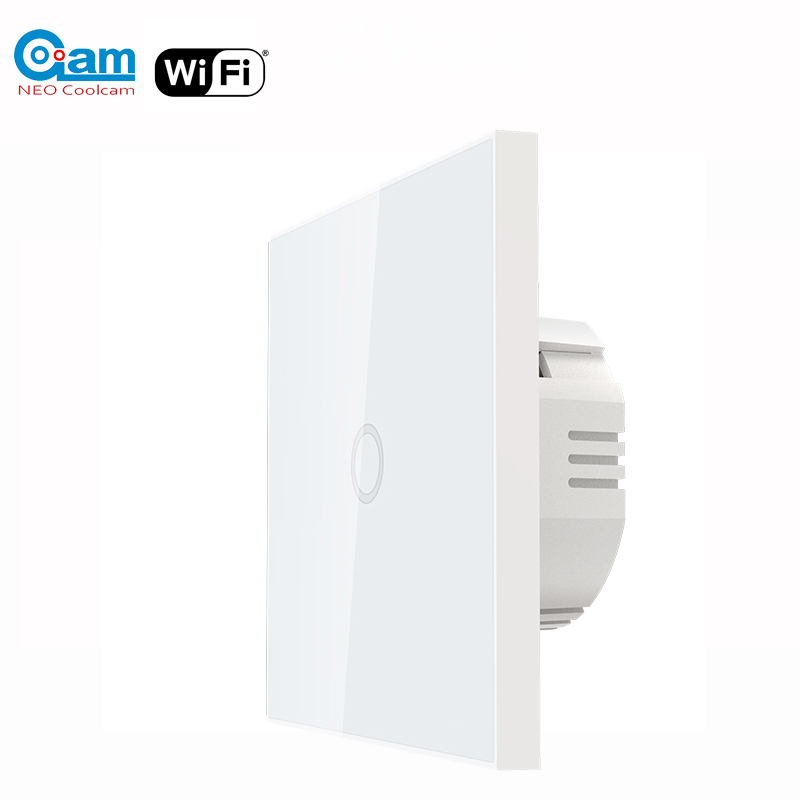 NEO Coolcam 5A Wifi 1CH Wall Light Switch Glass Panel Touch Work with Alexa Google Home IFTTT