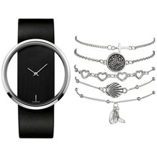 Transparent Hollow Silver Watch Women Bracelet Jewelry 6pcs Set Creative Designer Lady Watch For Woman Black Leather Wristwatch(China)