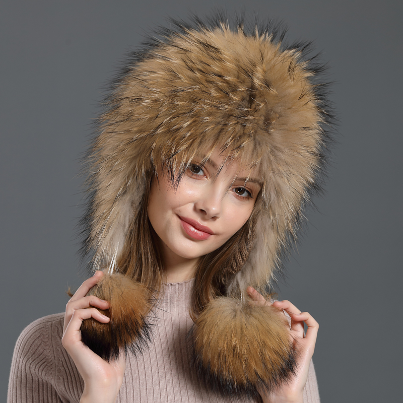 Winter Hat for Women New Natural Fox Fur Bomber Hats Russian With Ear flaps Trappers Real Raccoon Fur Beanies Female
