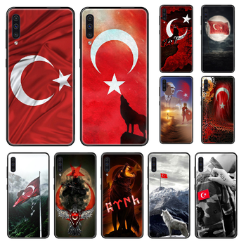 Turkish flag Phone case For Samsung Galaxy A 3 5 8 9 10 20 30 40 50 70 E S Plus 2016 2017 2018 2019 black painting funda trend image