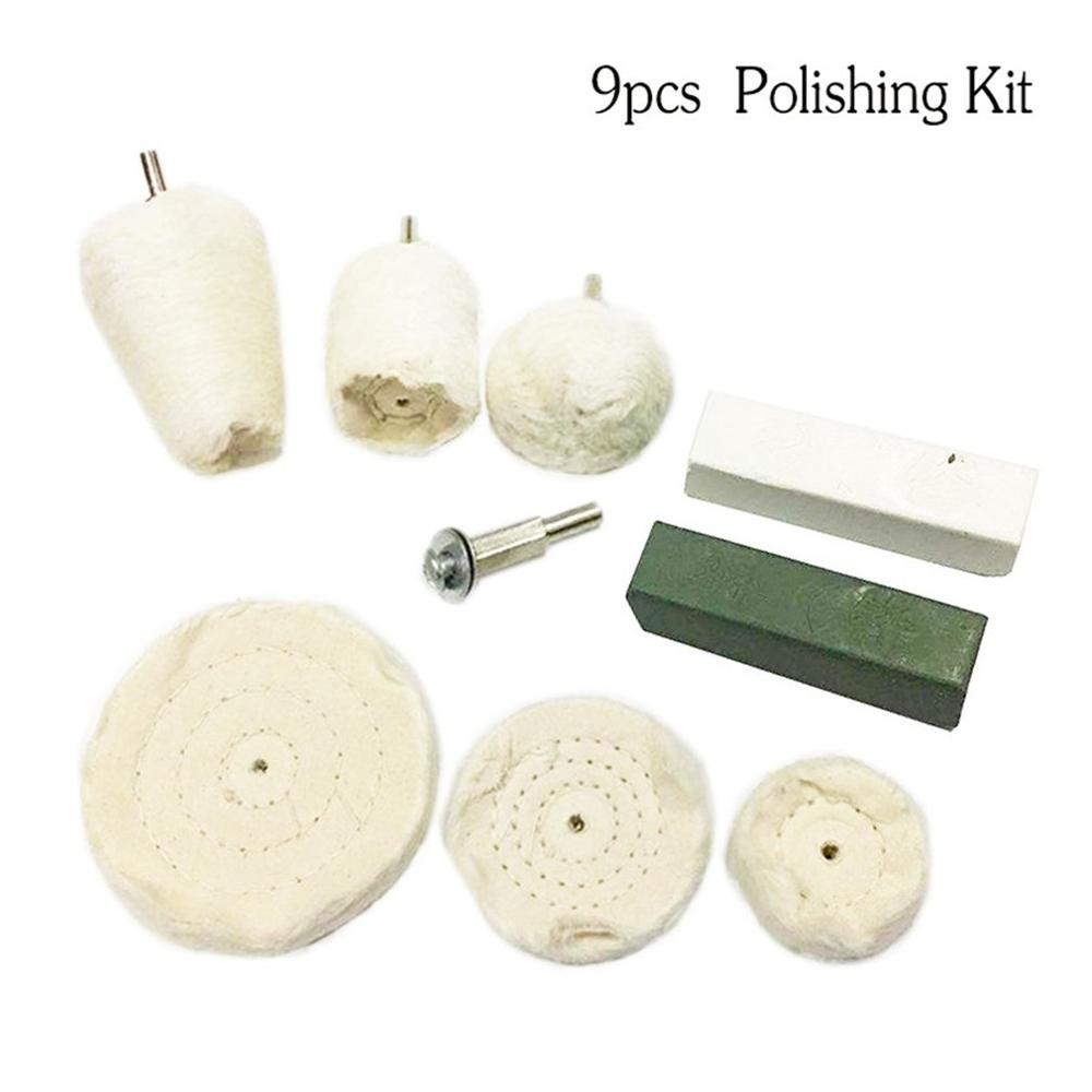 9Pcs Polishing & Buffing Pad Polishing Mop Kit With Shank For Mag Wheels, Manifold, Aluminum, Stainless Steel, Chrome Pack
