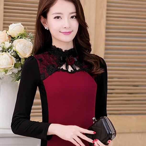 Basic Shirts Blouses Sheer Hot Women Autumn Winter Slim Fit Parchwork Black Mesh Red Black Lace Turtleneck Top DC744