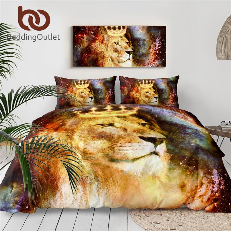 BeddingOutlet Lion King Bedding Set Universe Cosmic Space Duvet Cover Animal With Crown Bed Set 3d Printed Bedclothes 3-Piece