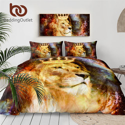 Beddingoutlet Lion King Set Tempat Tidur Alam Semesta Ruang Kosmik Duvet Cover Hewan dengan Crown Bed Set 3D Dicetak Seprai 3- potongan